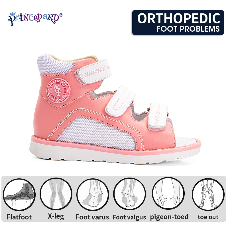 Princepard Kids Orthopedic Snadals Summer Correction Shoe for Flat Foot Increased Ankle Support with Thomas Heel Boys and Girls enlarge