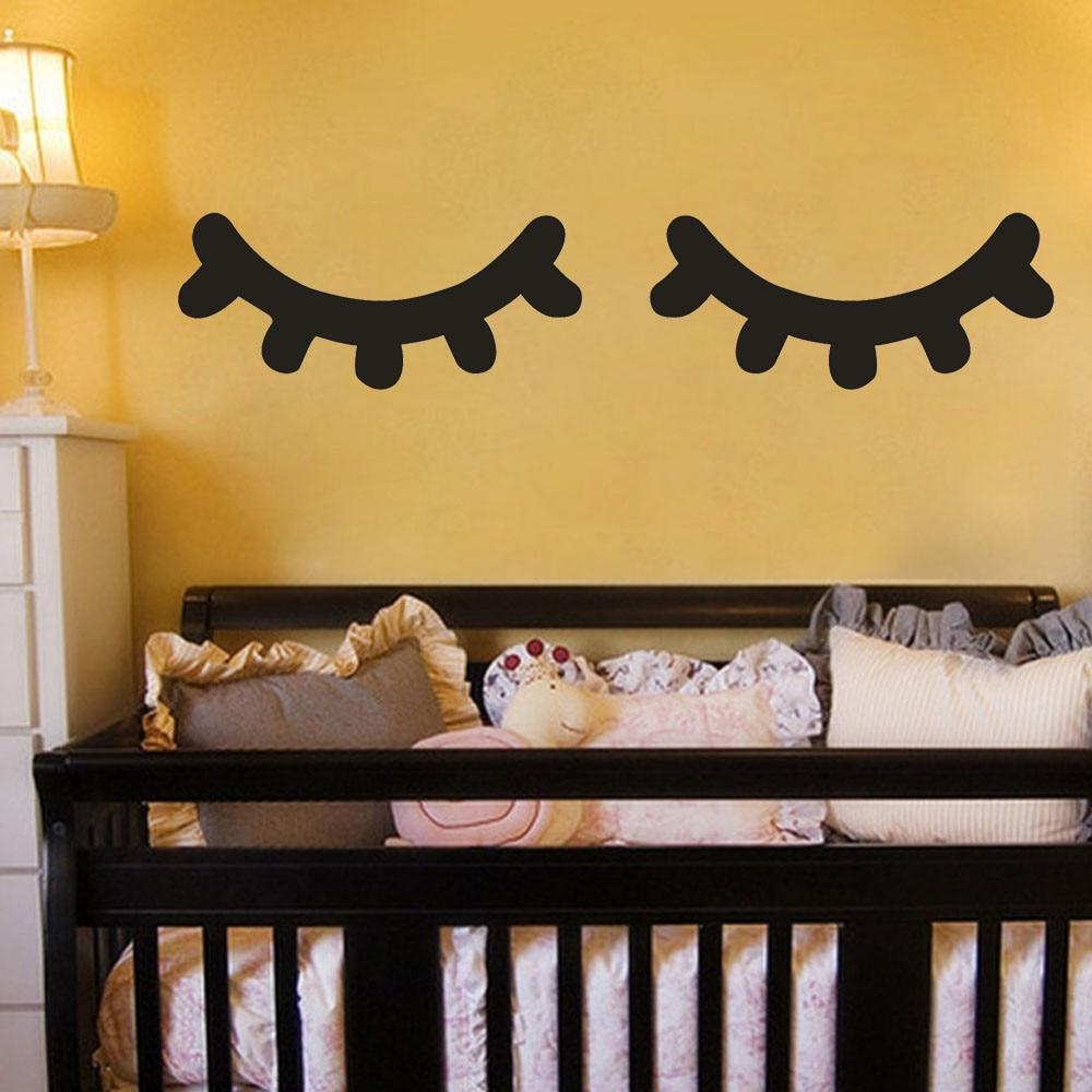 Pegatinas de pestañas para decoración de pared del hogar, calcomanía de vinilo...