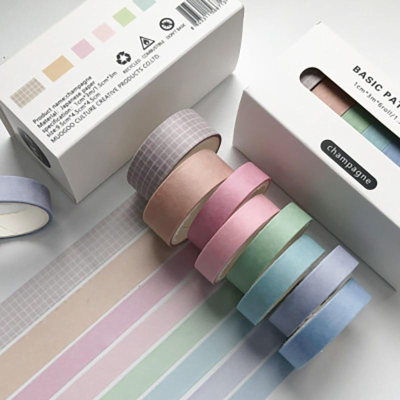 8Pcs/Lot Basic Decoration Washi Tape Diy Scrapbooking Stick Journal Planners Stickers Masking Tape School Office Supply