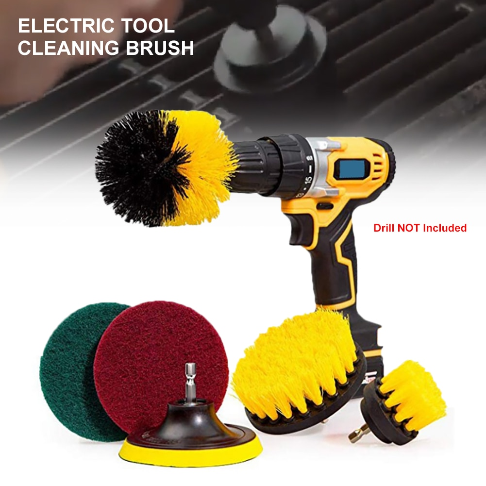6/12Pcs Electric Scrubber Brush Kit Cordless Drill Brush Attachment Bathroom Cleaning Car Detailing Nylon Cleaning Brushes Tools недорого