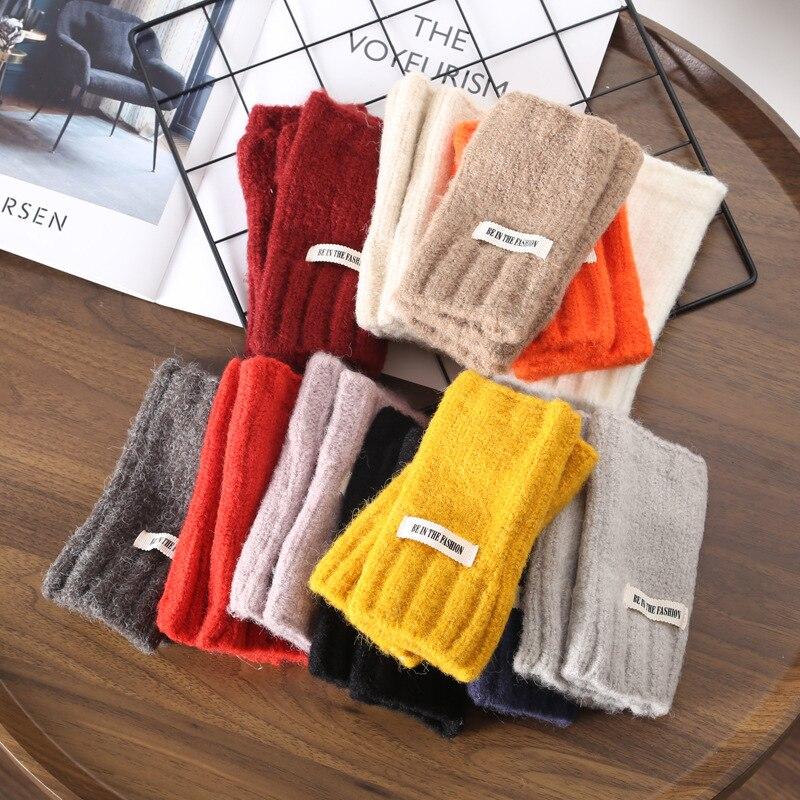 Тонкие зимние теплые шерстяные перчатки, простые вязаные толстые перчатки без пальцев