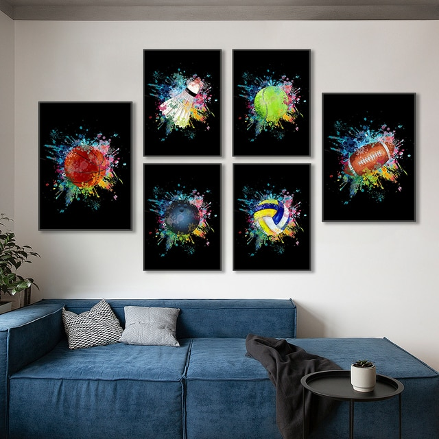Ball sports basketball bowling club wall art canvas poster printing office painting home living room decoration painting poster 4