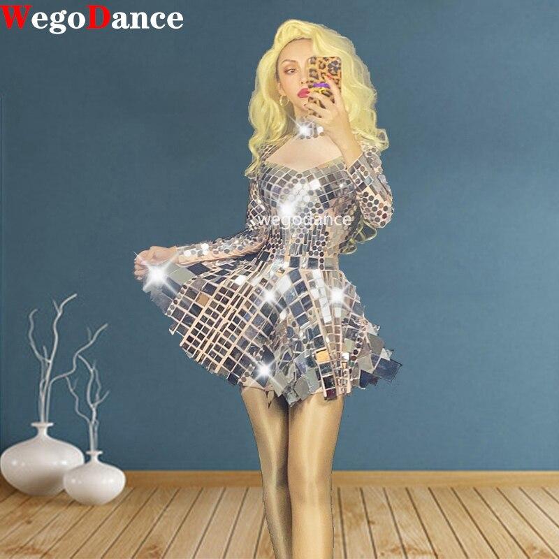 Nowe kobiety błyszczące srebro lustro sukienka piosenkarka tancerz body kostium jednoczęściowy klub nocny sukienki na przyjęcie urodzinowe