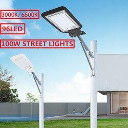 Iluminação led de rua 100w 96, 9000lm, iluminação externa, para jardim, quintal, estrada, estacionamento, lâmpada de segurança, à prova d água ip65