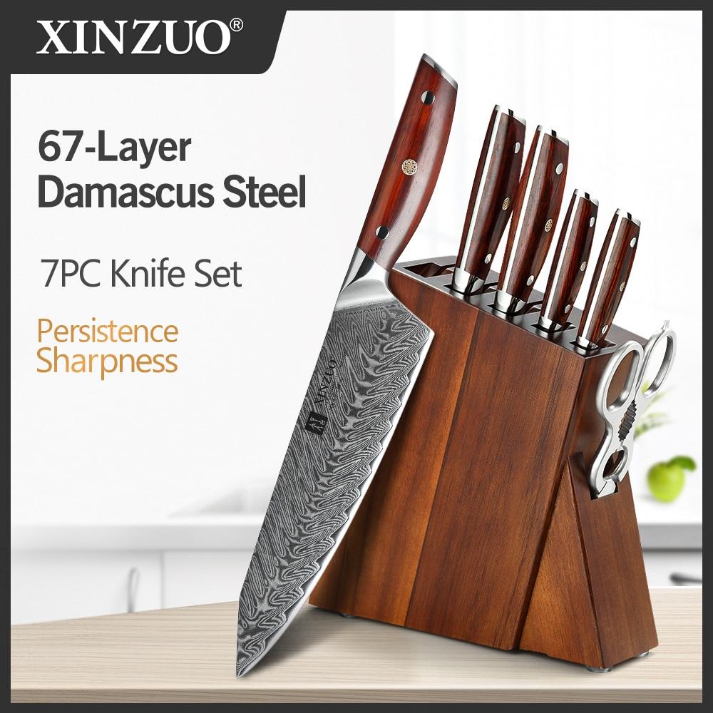 XINZUO 7 قطعة سكاكين المطبخ مجموعات دمشق الصلب سكين الشيف مجموعات الفولاذ المقاوم للصدأ مطبخ مقص أكاسيا الخشب سكين كتلة حامل