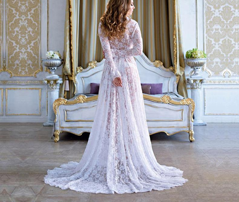 2020 Fast Sell Through Europe And America White Sexy Deep V-neck Long Sleeve Lace Perspective Tight Tailed Dress 1709661 enlarge