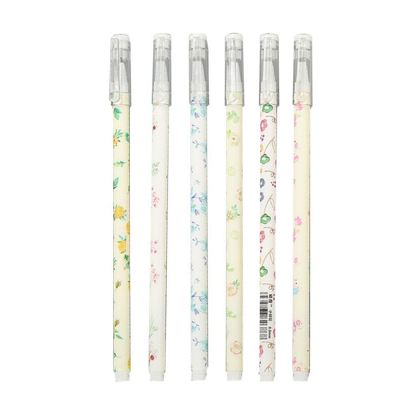 6 шт./лот гелевая ручка с цветочным рисунком, черная чернильная ручка, рекламные принадлежности, высокое качество, Офисная ручка для подписе...