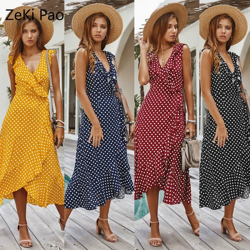 Summer Dress Ladies Elegant Wrinkled Irregular Polka Dot Print Dark V-Neck Sleeveless Dress Vacation Couple Dating Ladies Dress