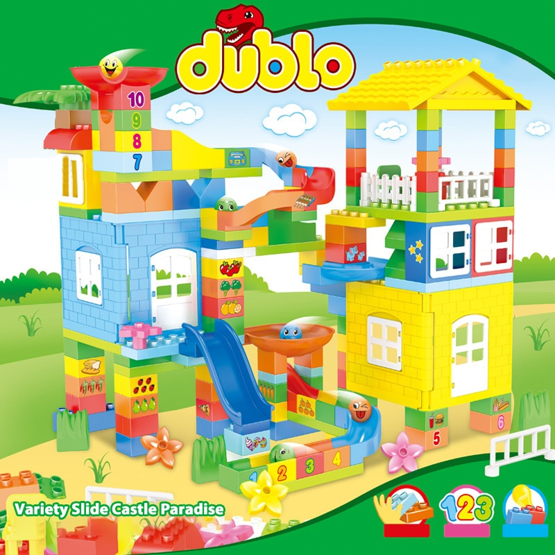 175pcs Marble Race Run Building Blocks Compatible Big Size Bricks Funnel Slide DIY Blocks Toys For Children Gifts