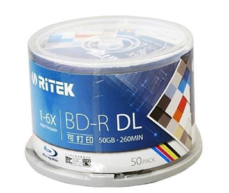 10 шт. 50 Гб BD-R 2-8X скорость Ritek для печати Bluray DL двухслойный пустой DVD диск