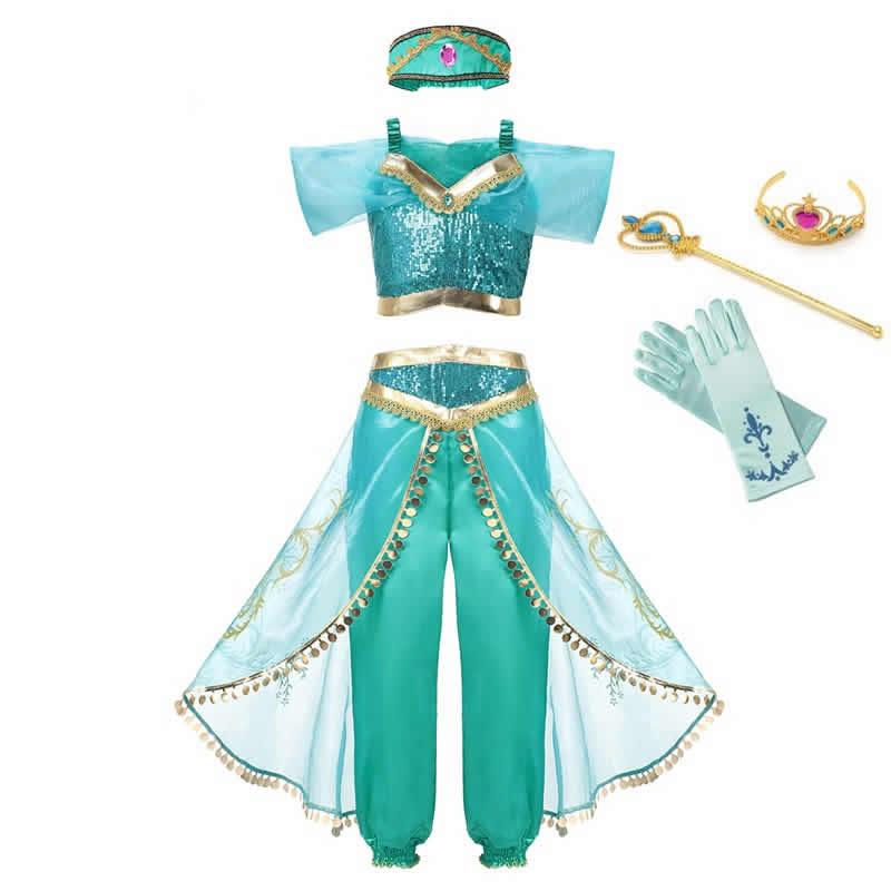 MUABABY Summer Girl Dress Arabian Princess Dress up Costume Children Sleeveless Sequin Clothes Kid Party Fantasy