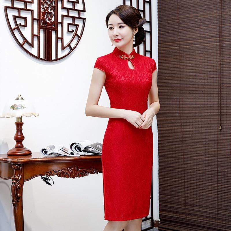 Oversize 4XL Chinese Women Lace Qipao Sexy Red Cheongsam Mandarin Collar Novelty Chinese Dress Elegant Lady Party Dress