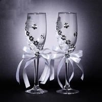 wedding champagne glasses groom and bride rose flower ribbon with diamond goblet wedding supplies decoration wine glass set