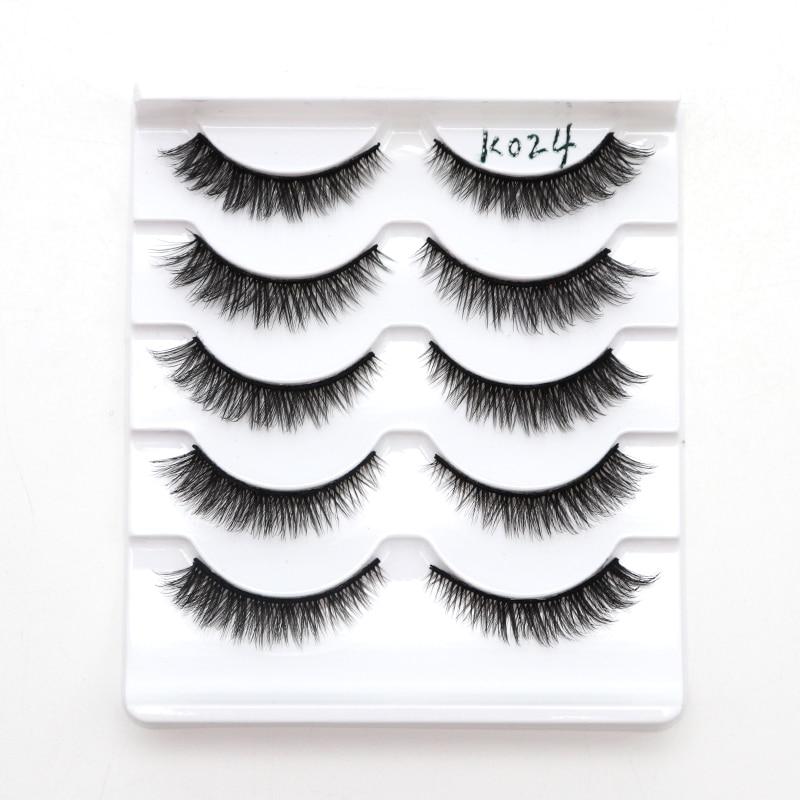 5 Pair 3D False Eyelashes Natural Soft Black Mink Hair Eye Lashes Makeup Tools Women Fake Eyelashes