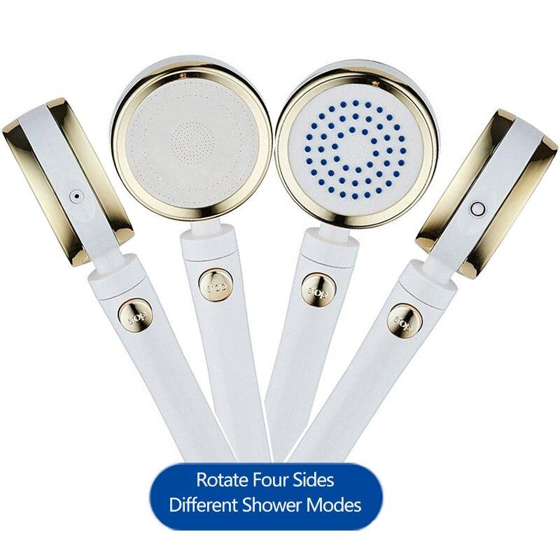 VEHHE 4 lados multifunción de rotación libre multifacético ahorro de agua alta presión cabezal de ducha accesorio de baño