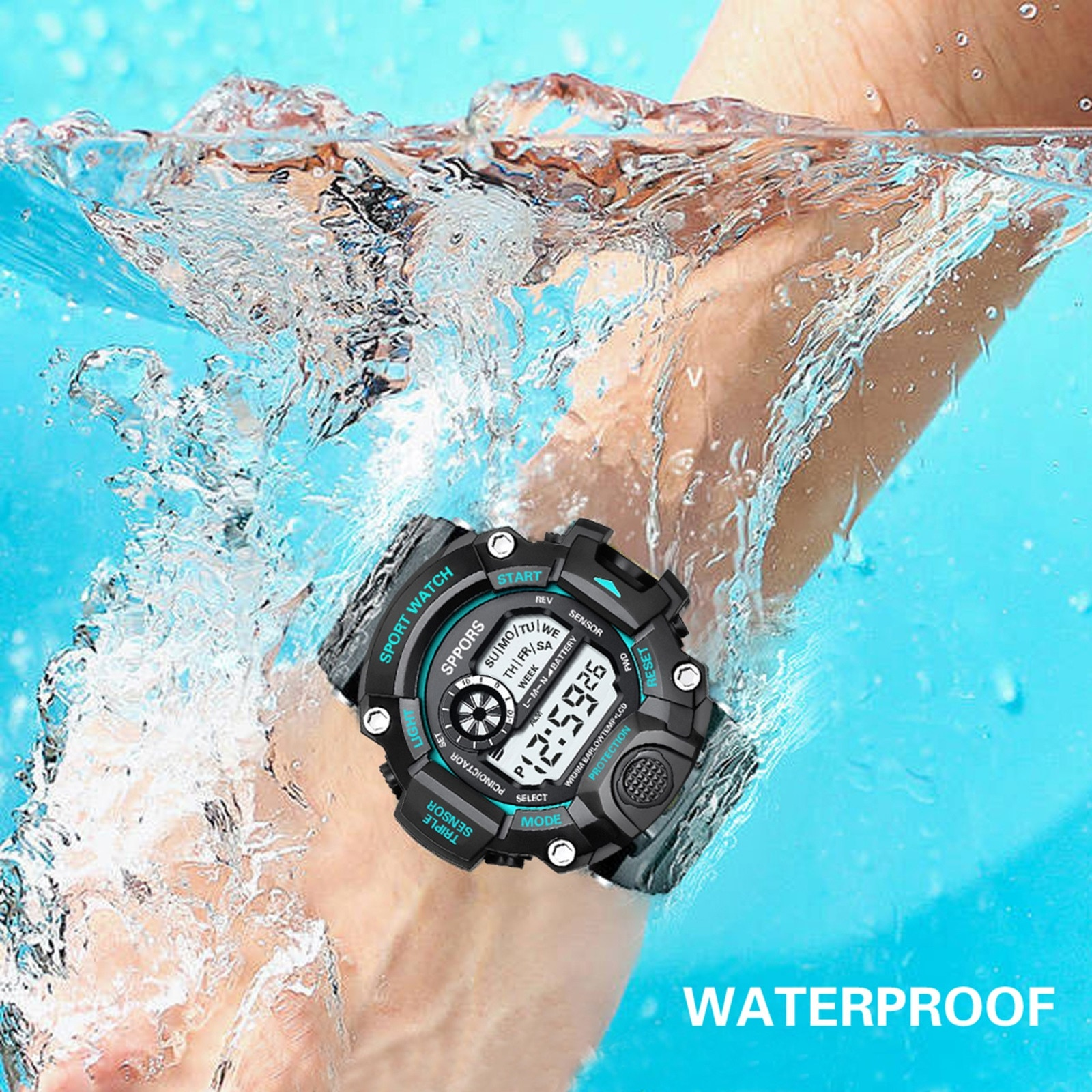 Stopwatch, Alarm Clock, Hourly Reminder, Luminous, Date Display, 12/24 Hour Conv Waterproof Digital