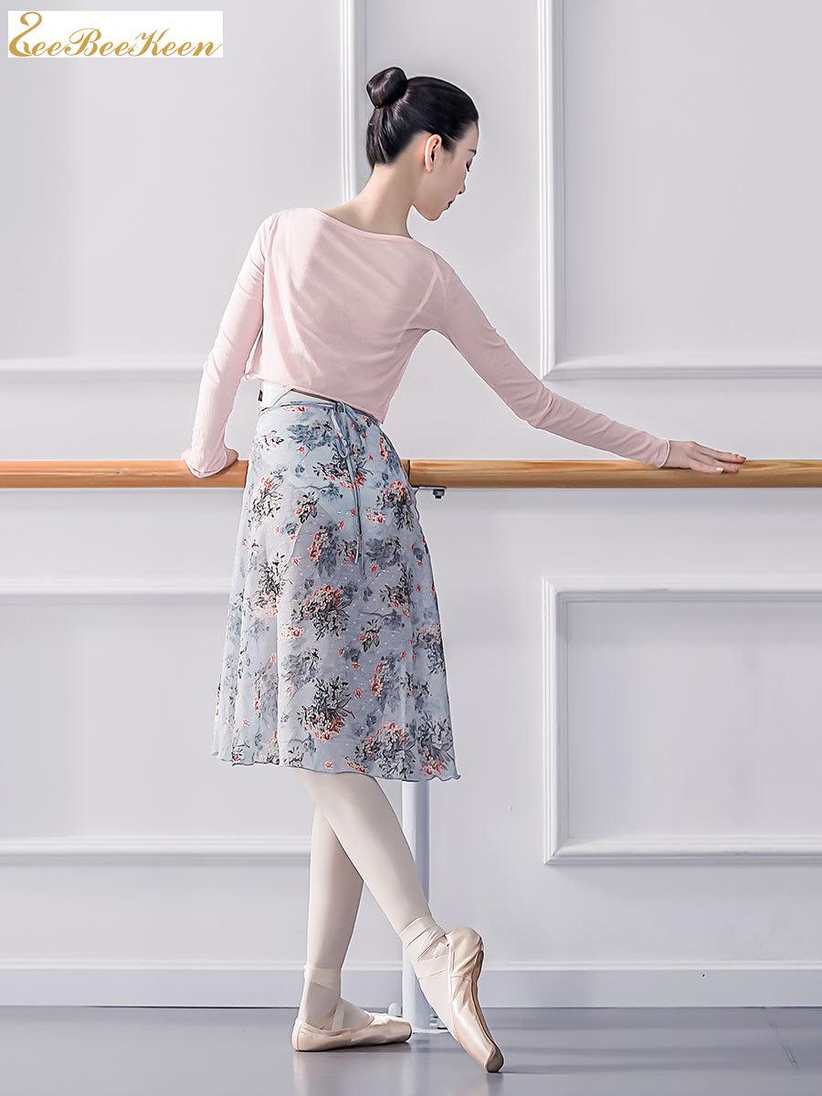 Falda de gasa envolvente para Ballet, leotardo Floral para gimnasia para mujer, falda larga de Ballet para adultos y profesores, Ropa de Ballet para niñas