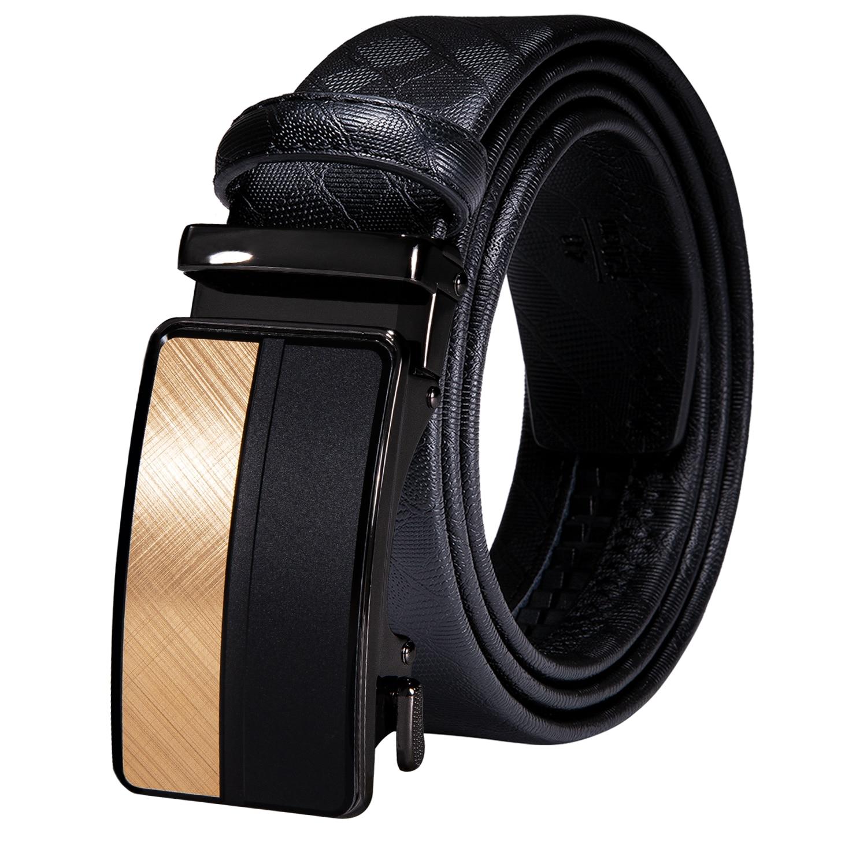 Automatic Buckles Mens Belts Black Leather Men Dress Jeans Belt Ratchet Sliding Waist Straps Wedding Business