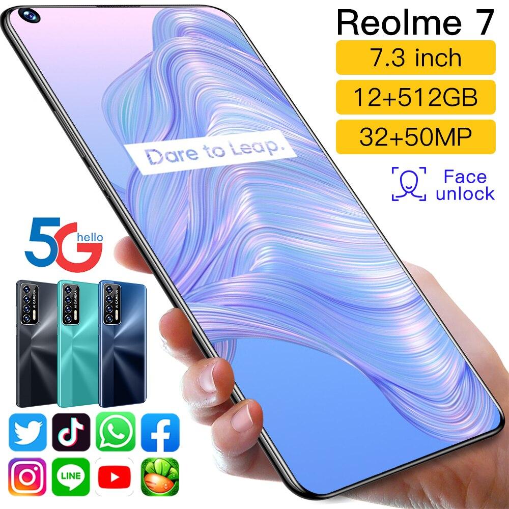Reolme 7 Digging Screen 7.3 Inch 12GB+512GB Deca Core 32+50MP Face Unlock 6000mAh 5G LTE Smart Phone Qualcomm 888 Mobile Phones