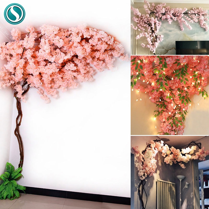 Artificial Cherry Tree Set Flower Branches Withered Vine diy kit Wedding Arch Decoration Home Hanging Flower Wall Festival Decor