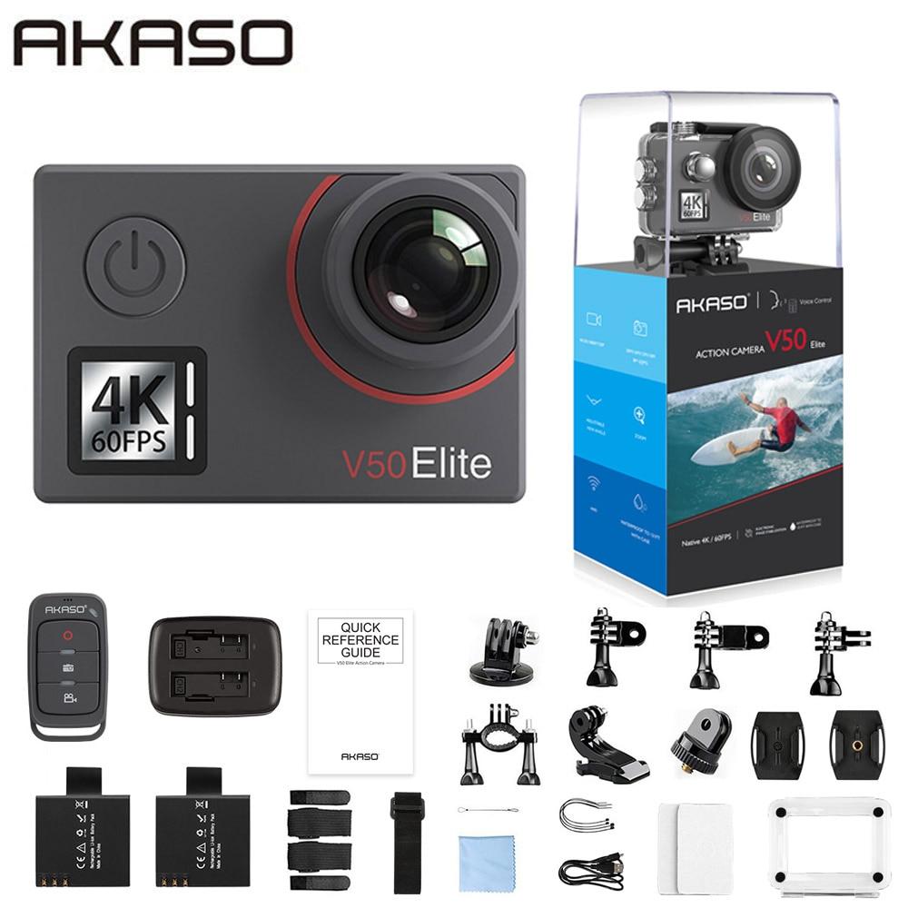 AKASO-كاميرا حركة 4K V50 Elite ، شاشة تعمل باللمس ، تحكم صوتي ، مقاومة للماء حتى 40 مترًا ، فائقة الدقة ، بدقة 4K/60 إطارًا في الثانية بدقة 20 ميجابكسل