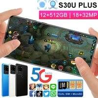 s30u plus 5g smartphone 1832mp hd camera 4800mah big battery snapdragon888 12512gb deca core mobile phone s30 plus galax phone