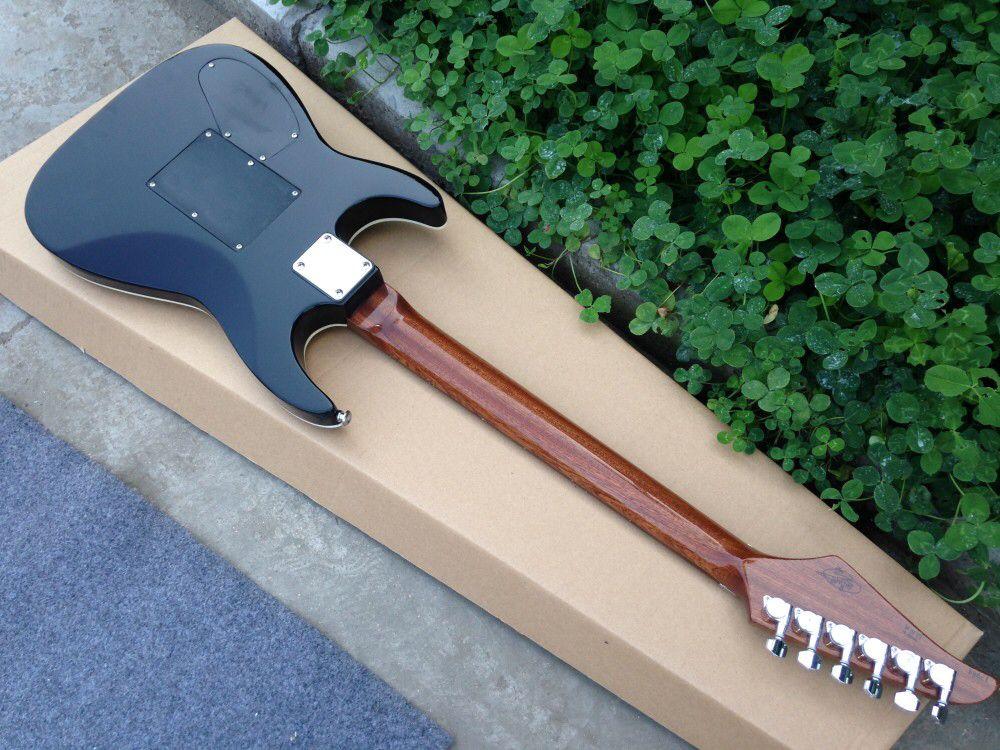 Blue color flame top Eelectric guitar,high quality pickups.handmade 6 stings guitarra,rosewood fingerboard. enlarge