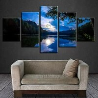 no framed canvas 5pcs forest lake moonlit blue sky wall art posters prints pictures paintings home decor decorations