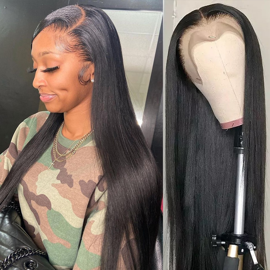 30 40 Inch Straight Lace Front Wig 13x4 Hd Lace Frontal Preplucked High Density Wigs For Women Brazilian Straight Human Hair Wig