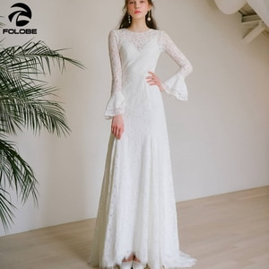 2021 Simple Lace Wedding Dresses Flare Sleeve O-neck Sweep Train Ankle-length Ivory Bridal Gowns Custom Made  vestidos de novia
