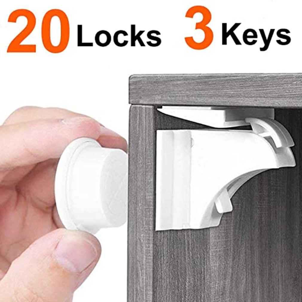 قفل درج مضاد للفتح للأطفال ، قفل أمان للأطفال للثلاجة ، 20 قفل و 3 مفاتيح