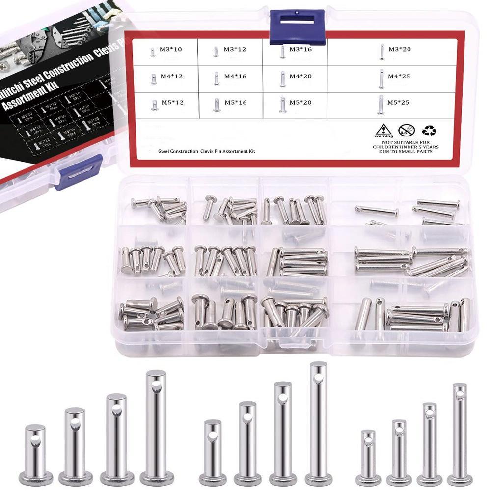 مجموعة متنوعة من دبابيس Clevis ، من الفولاذ المقاوم للصدأ 304 ، 12 مقاسًا مختلفًا ، دبوس مفصلي ، رأس مسطح ، M3 M4 M5 ، مجموعة متنوعة
