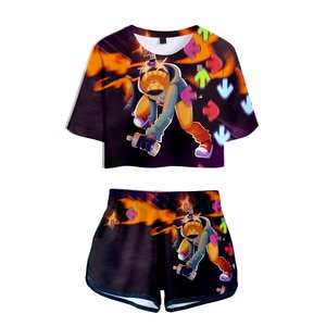 Friday Night Funkin cosplay Sets Sexy Short Tops+shorts Elastic Waist Suit Hip hop Fashion Punk Style  women's Two Piece Set