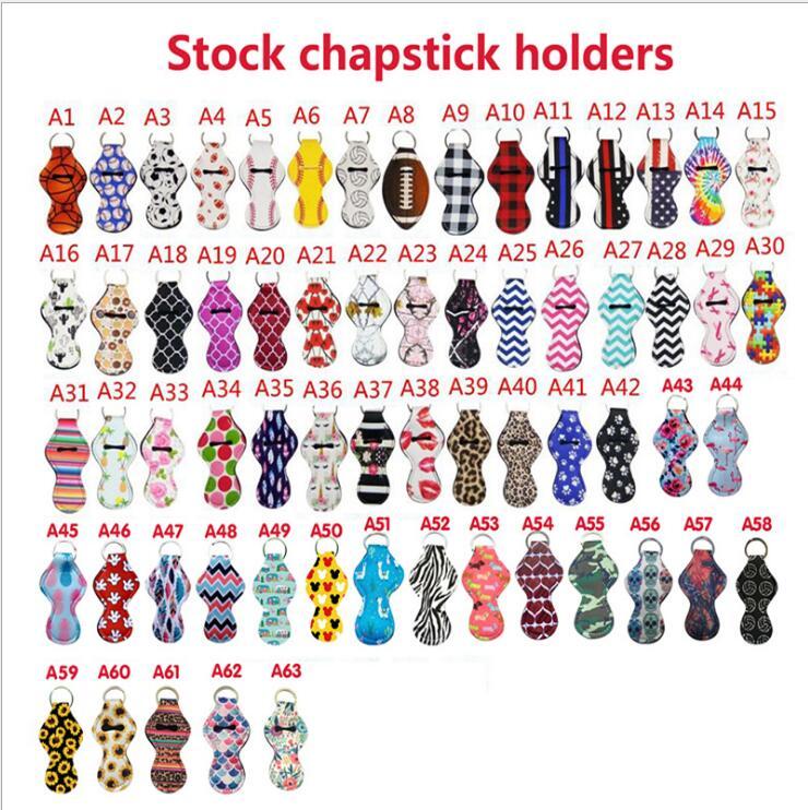 1000 sztuk/partia wysokiej jakości prezent sprzyja neoprenowy uchwyt, Cute Girl Chapstick szminka brelok Chapstick-Holder 63 Style