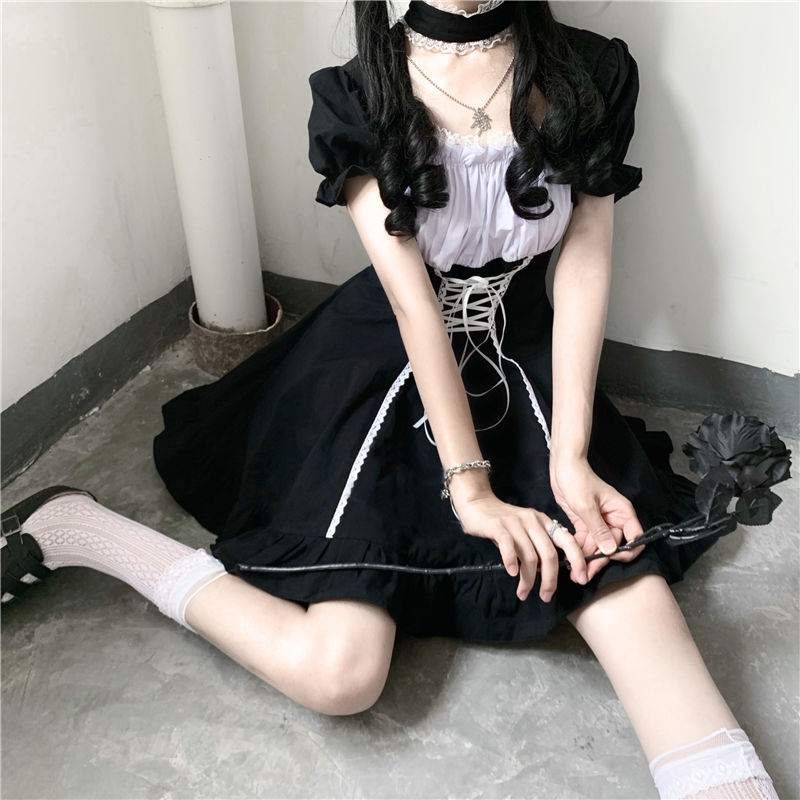 Japanese Soft Sister Cute Lolita Dress Women Victorian Gothic Puff Sleeve Slim Dress Party Retro Dark Girls Bandage Maid Dresses