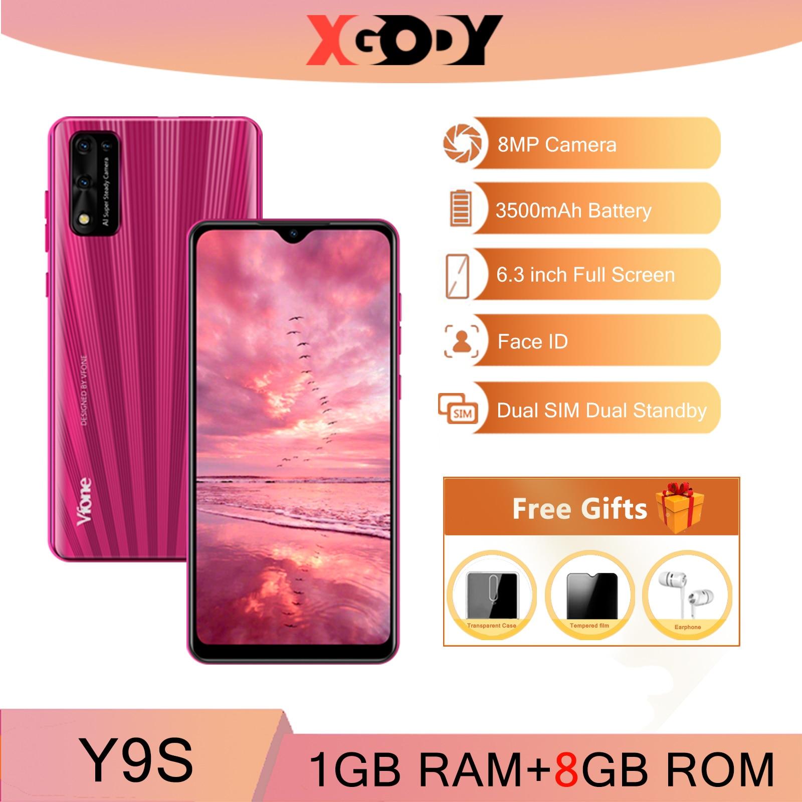XGODY 3G smartphone 8MP Camera Android Mobile phones 1GB 8GB 3500mAh 6.3'' Cellphone Unlock 19:9 Dual SIM Face ID WiFi GPS Y9s