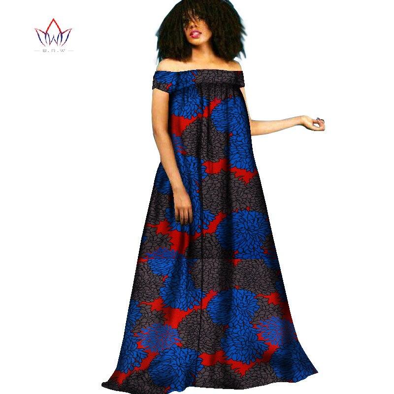 BRW африканская одежда традиционное Bazin Riche осеннее платье бохо стиль халат Femme Макси платье женские Платья Туника Платья WY2091