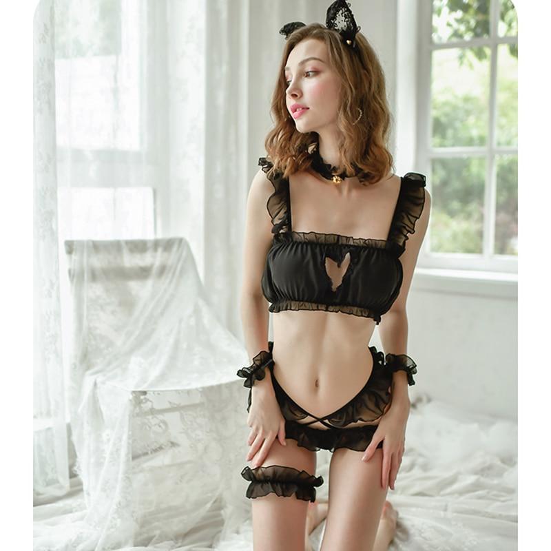 Preto sexy lingerie feminina sexy princesa gato terno amor gato menina bonito estudante uniforme suspensórios pijamas conjunto pijamas