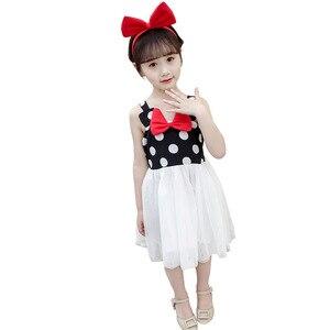 Girl bow dress with suspenders Girl fashion polka dot suspender mesh dress Girl Western Sleeveless Dress Girl cute dress
