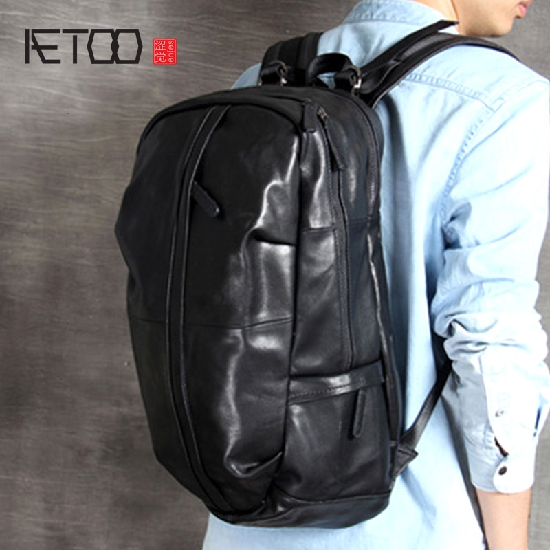 AETOO Large-capacity head cowhide shoulder bag leather men's and women's travel bag handmade classic hundred mountaineering bag aetoo handmade leather wallet head layer cowhide money clip simple design male and female general