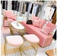 nordic iron sofa chair beauty salon hotel milk tea shop business simple net red cloth sofa with tea table combination