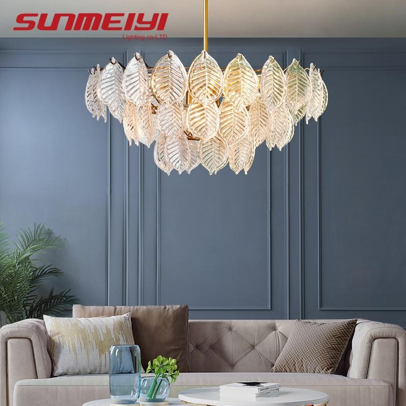 Современные светодиодные люстры, Хрустальные потолочные светильники с листьями для гостиной, спальни, столовой, подвесные лампы, techo