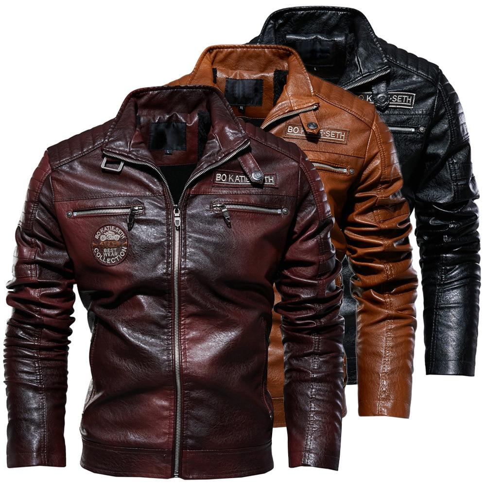 Leather Jacket Men Winter Fleece Motorcycle PU Leahter Jacket Male  Stand Collar Casual Windbreaker Ropa De Hombre Slim Coat 3XL