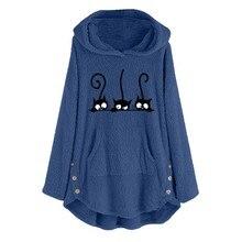 40 @ chat broderie hiver sweat à capuche pour femme sweats mode surdimensionné dames pulls chaud poche sweat Sudadera Mujer