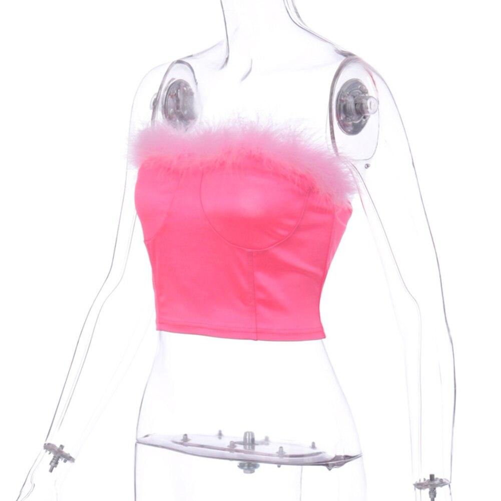 Camisetas de verano para damas sin tirantes con cremallera bandas para el pelo Sexy Rosa envuelto en el pecho camisola para mujeres 2020 nuevo