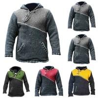 mens long sleeve hooded knitted jumper pullover warm hoodie sweatshirt outwear