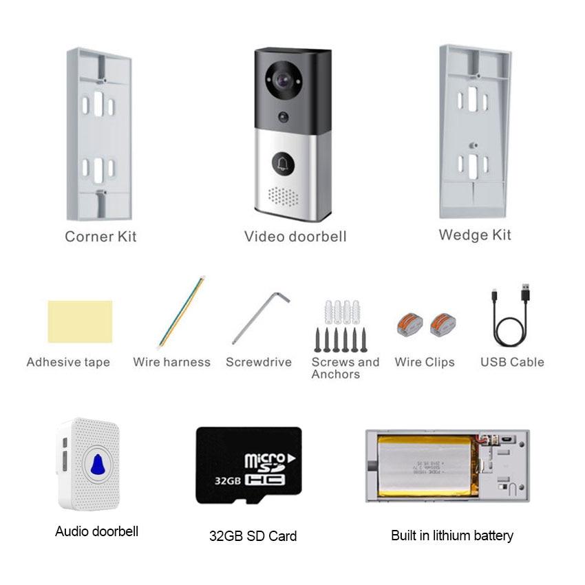 1080P Video Doorbell Wifi Smart Home App Phone Call Audio Intercom Wireless Door Bell Camera PIR motion detection enlarge