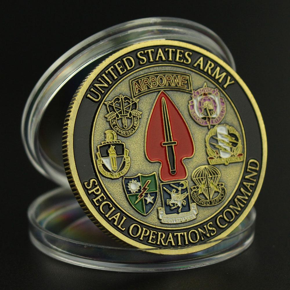 Памятная монета команды спецопераций американской армии, монета с бронзовым покрытием, Коллекционная монета для поклонников военной коман...