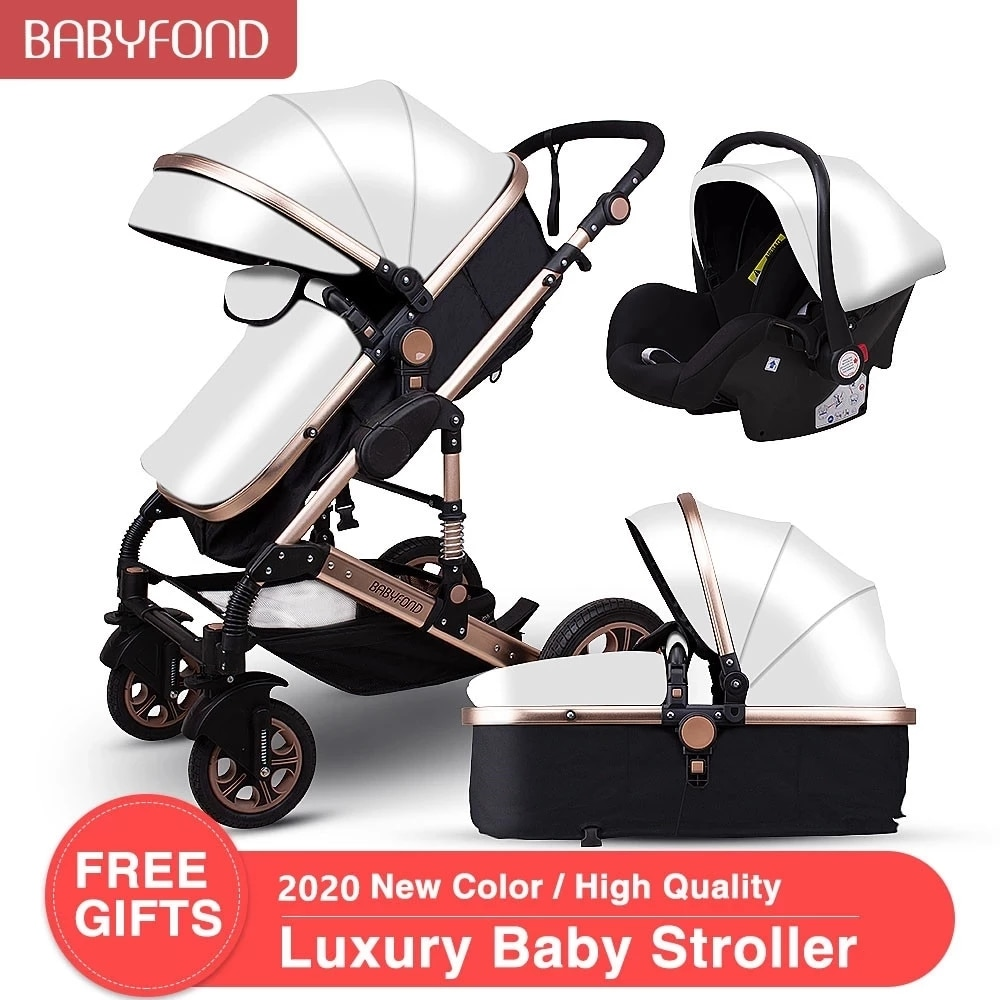 Babyfond Baby Stroller 3 in 1 High Landscape Baby Cart PU Leather Stroller With Car Seat 2 in 1 Luxury Baby Stroller CE Safety baby stroller high view vip mode baby stroller with safety seat shockproof portable baby cart