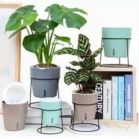 creative self watering flower pot colourful plastic flower pot modern decorative planter pot home office desk decoration